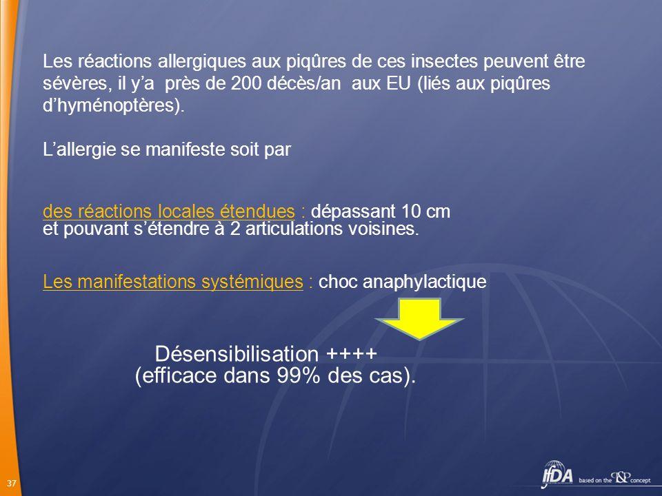 37 Les réactions allergiques aux piqûres de ces insectes peuvent être sévères, il ya près de 200 décès/an aux EU (liés aux piqûres dhyménoptères). Lal