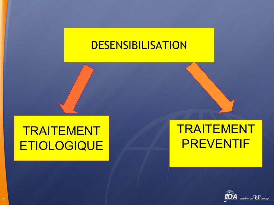 7 TRAITEMENT ETIOLOGIQUE TRAITEMENT PREVENTIF DESENSIBILISATION