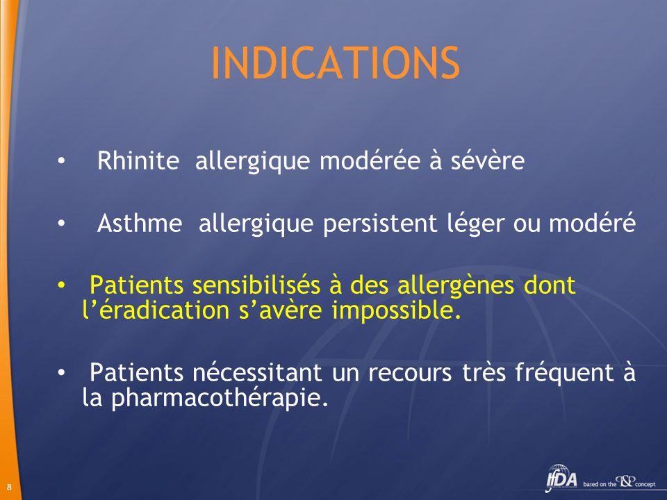 8 INDICATIONS Rhinite allergique modérée à sévère Asthme allergique persistent léger ou modéré Patients sensibilisés à des allergènes dont léradicatio