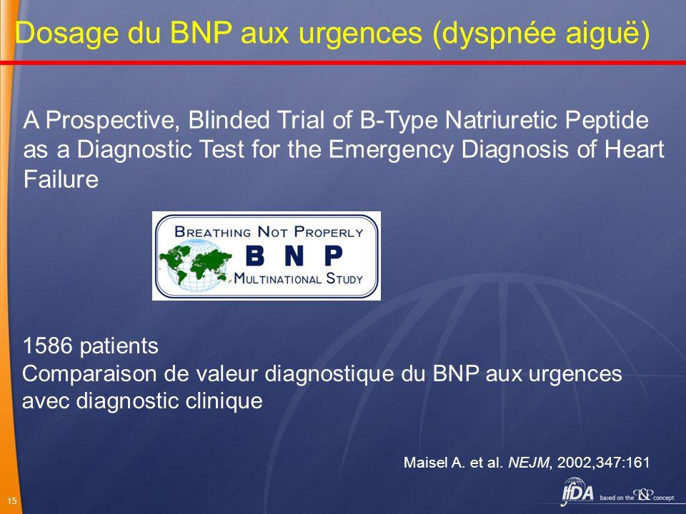15 Dosage du BNP aux urgences (dyspnée aiguë) A Prospective, Blinded Trial of B-Type Natriuretic Peptide as a Diagnostic Test for the Emergency Diagno