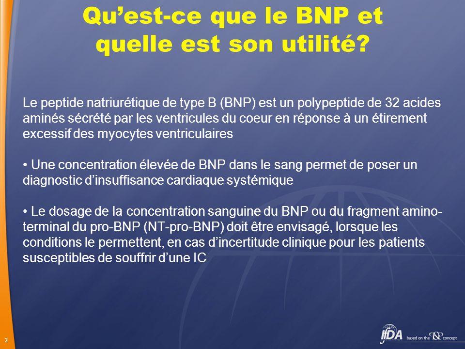 2 Quest-ce que le BNP et quelle est son utilité? Le peptide natriurétique de type B (BNP) est un polypeptide de 32 acides aminés sécrété par les ventr