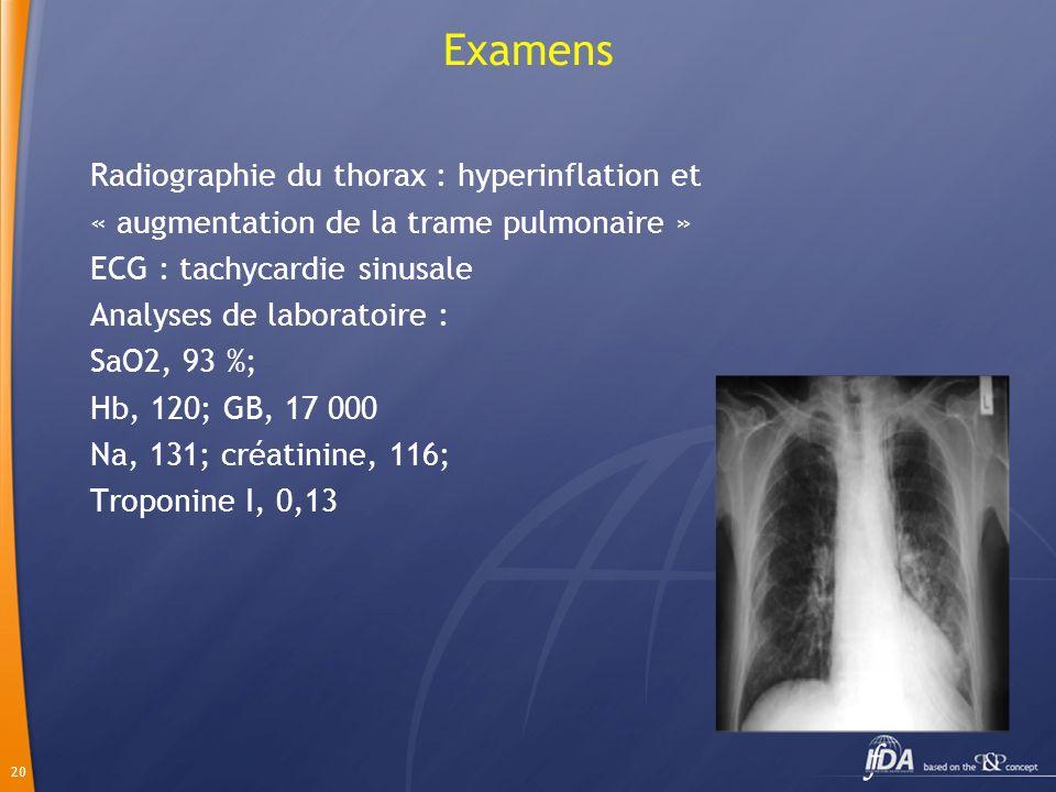 20 Examens Radiographie du thorax : hyperinflation et « augmentation de la trame pulmonaire » ECG : tachycardie sinusale Analyses de laboratoire : SaO