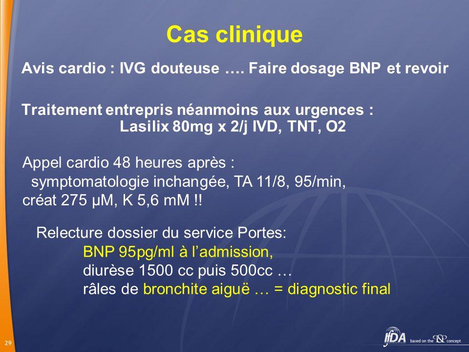 29 Cas clinique Avis cardio : IVG douteuse …. Faire dosage BNP et revoir Traitement entrepris néanmoins aux urgences : Lasilix 80mg x 2/j IVD, TNT, O2
