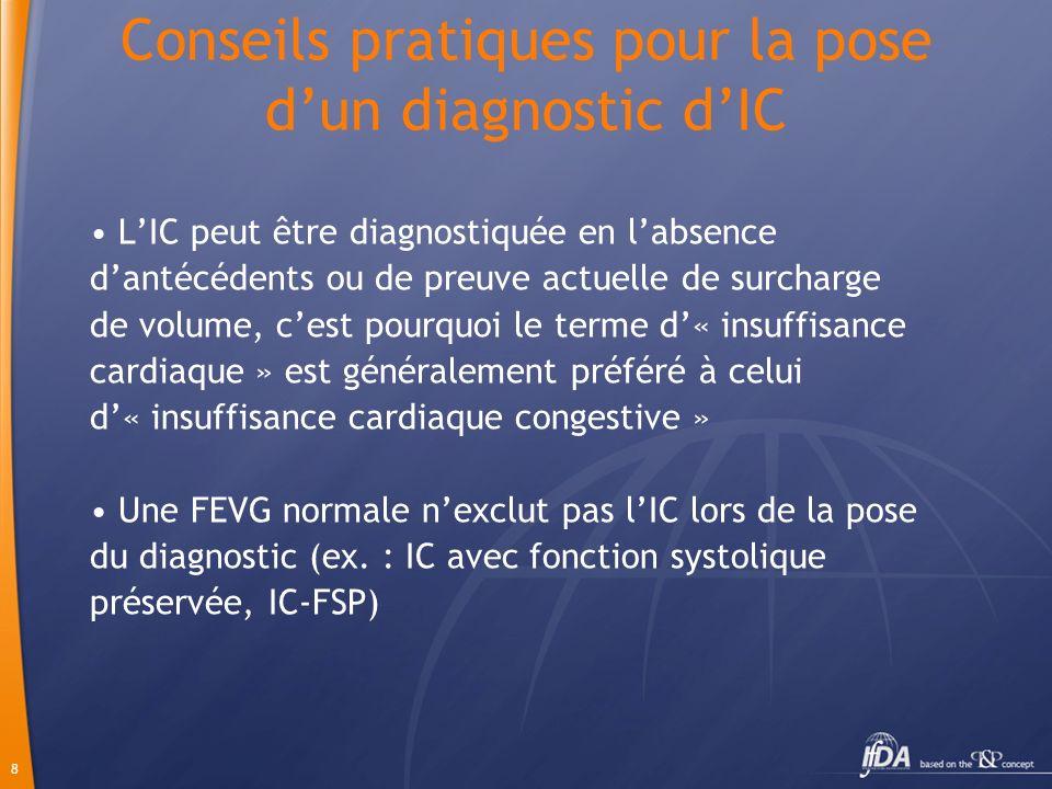 8 Conseils pratiques pour la pose dun diagnostic dIC LIC peut être diagnostiquée en labsence dantécédents ou de preuve actuelle de surcharge de volume