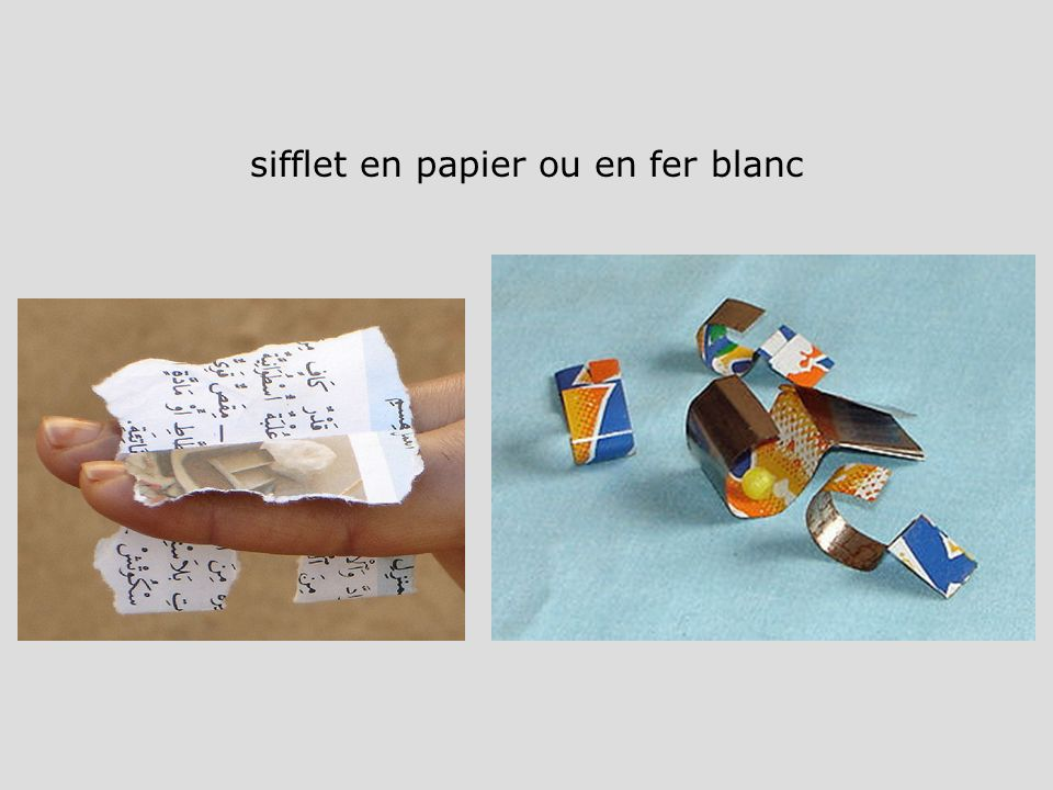 sifflet en papier ou en fer blanc