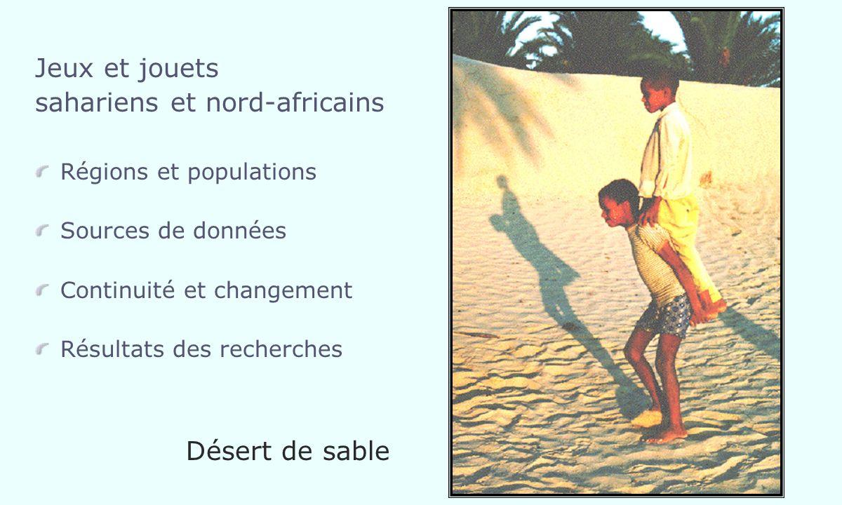Jeux et jouets sahariens et nord-africains Régions et populations Sources de données Continuité et changement Résultats des recherches Désert de sable