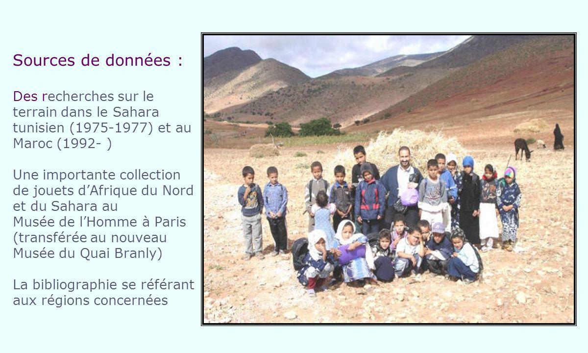 Sources de données : Des recherches sur le terrain dans le Sahara tunisien (1975-1977) et au Maroc (1992- ) Une importante collection de jouets dAfrique du Nord et du Sahara au Musée de lHomme à Paris (transférée au nouveau Musée du Quai Branly) La bibliographie se référant aux régions concernées