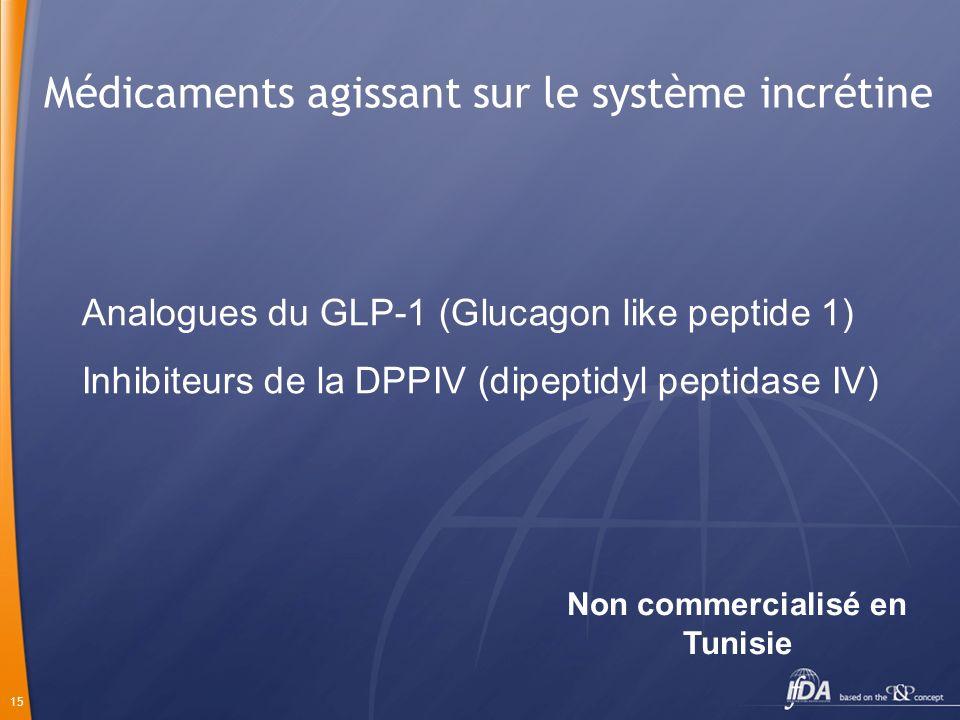15 Médicaments agissant sur le système incrétine Analogues du GLP-1 (Glucagon like peptide 1) Inhibiteurs de la DPPIV (dipeptidyl peptidase IV) Non co