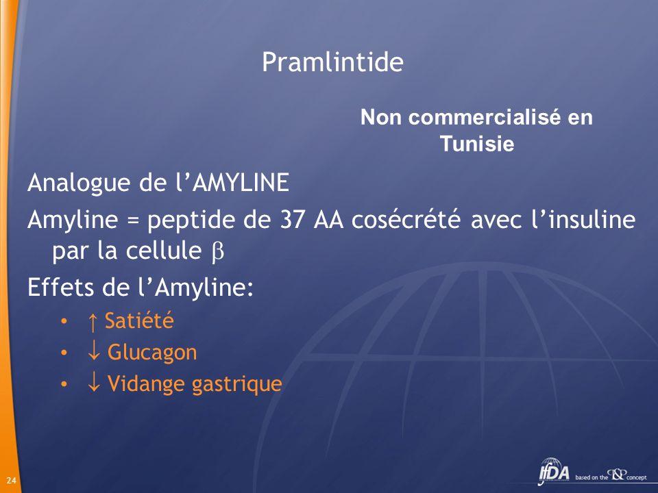 24 Pramlintide Analogue de lAMYLINE Amyline = peptide de 37 AA cosécrété avec linsuline par la cellule Effets de lAmyline: Satiété Glucagon Vidange ga