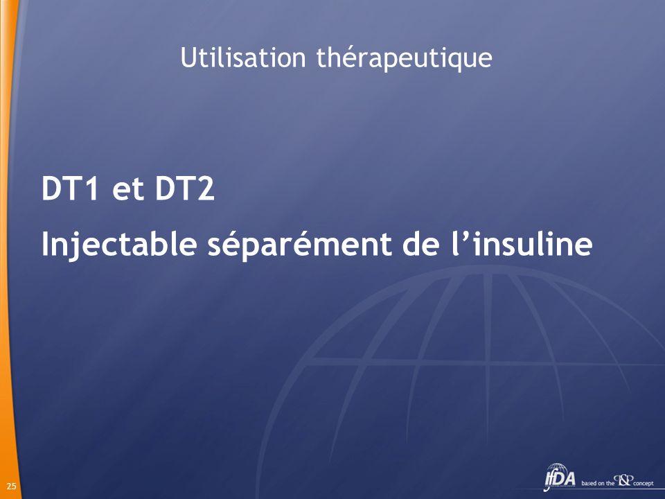 25 Utilisation thérapeutique DT1 et DT2 Injectable séparément de linsuline