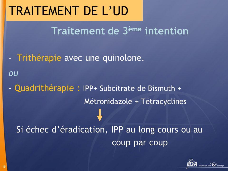 15 Traitement de 3 ème intention - Trithérapie avec une quinolone. ou - Quadrithérapie : IPP+ Subcitrate de Bismuth + Métronidazole + Tétracyclines Si
