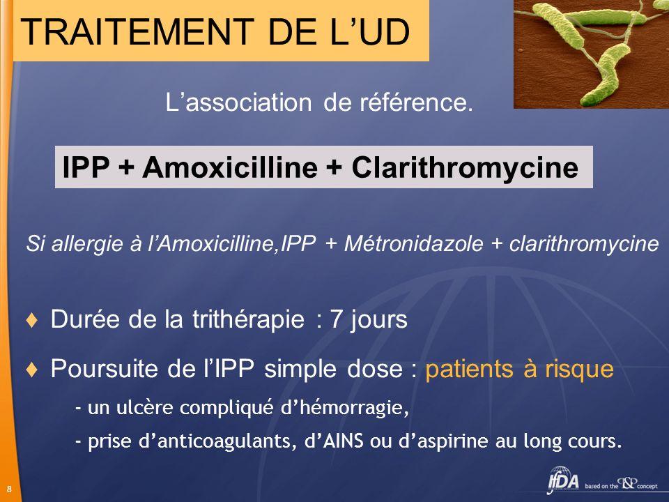 8 Lassociation de référence. Si allergie à lAmoxicilline,IPP + Métronidazole + clarithromycine Durée de la trithérapie : 7 jours Poursuite de lIPP sim