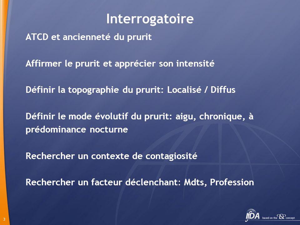 3 Interrogatoire ATCD et ancienneté du prurit Affirmer le prurit et apprécier son intensité Définir la topographie du prurit: Localisé / Diffus Défini