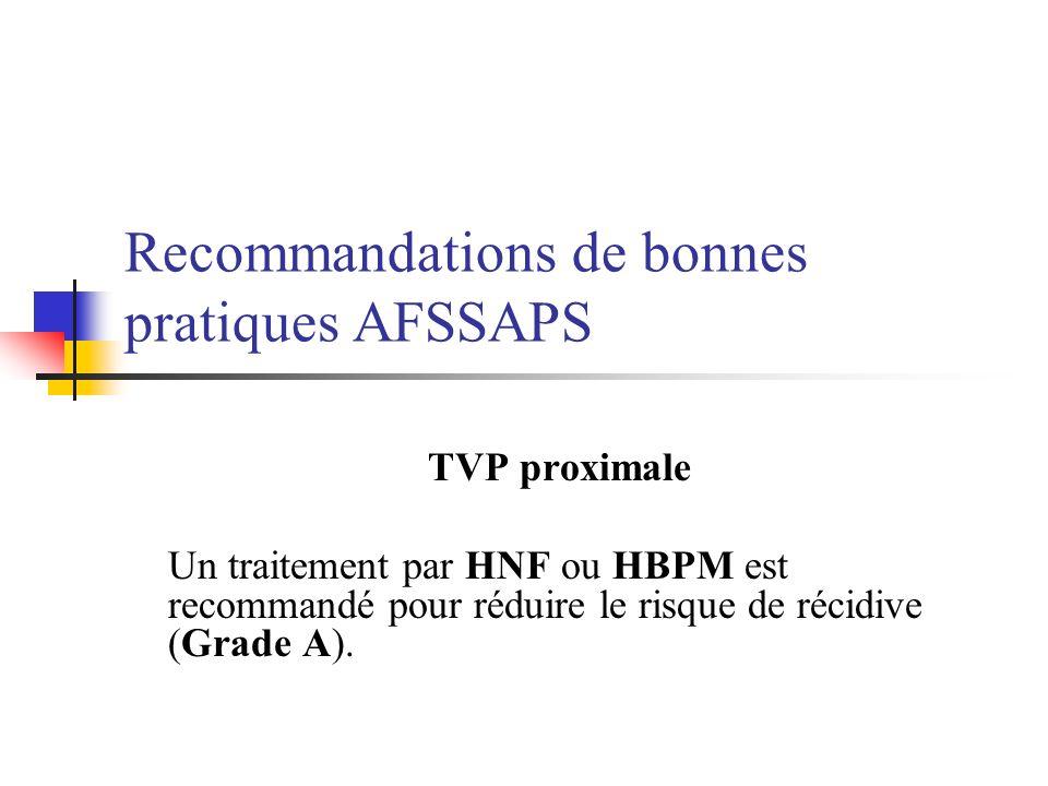 Recommandations de bonnes pratiques AFSSAPS TVP proximale Un traitement par HNF ou HBPM est recommandé pour réduire le risque de récidive (Grade A).