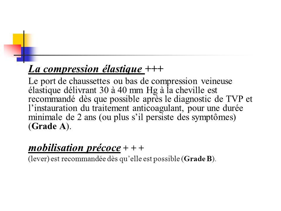La compression élastique +++ Le port de chaussettes ou bas de compression veineuse élastique délivrant 30 à 40 mm Hg à la cheville est recommandé dès