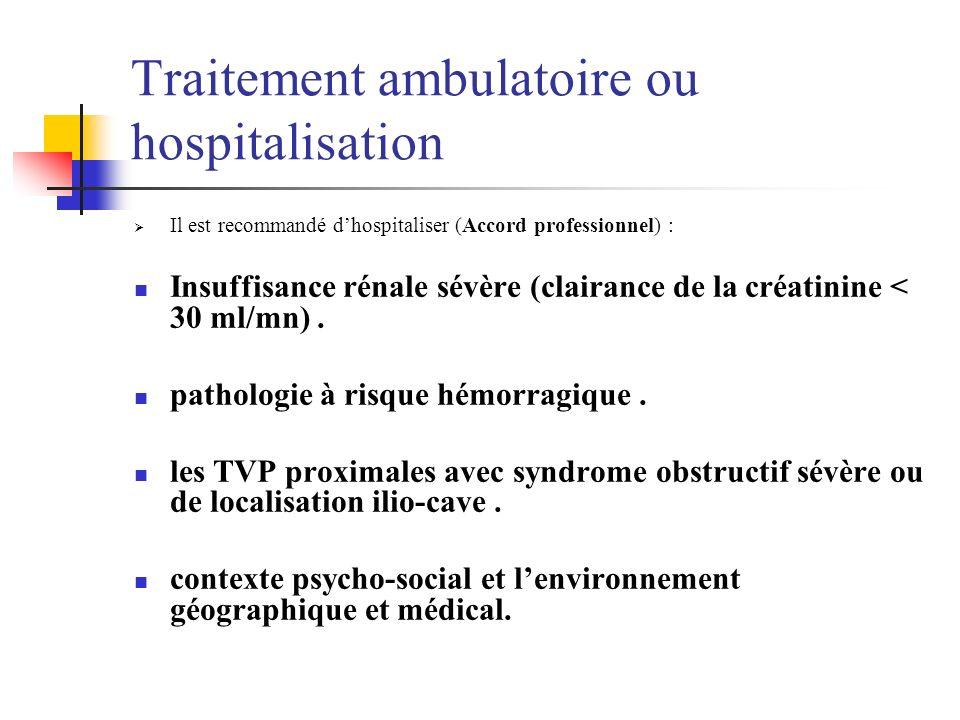 Traitement ambulatoire ou hospitalisation Il est recommandé dhospitaliser (Accord professionnel) : Insuffisance rénale sévère (clairance de la créatin