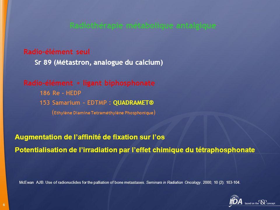 7 Radiothérapie métabolique Principe Fixation spécifique sur los Fixation proportionnelle à lactivité ostéoblastique Effet biologique par ionisation lésion Os normal = 5