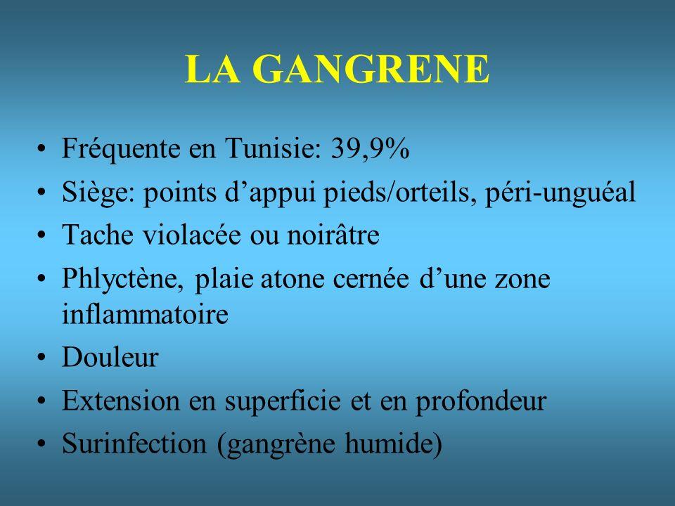 LA GANGRENE Fréquente en Tunisie: 39,9% Siège: points dappui pieds/orteils, péri-unguéal Tache violacée ou noirâtre Phlyctène, plaie atone cernée dune zone inflammatoire Douleur Extension en superficie et en profondeur Surinfection (gangrène humide)