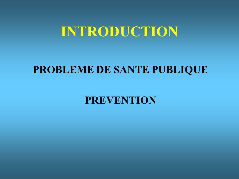 INTRODUCTION PROBLEME DE SANTE PUBLIQUE PREVENTION