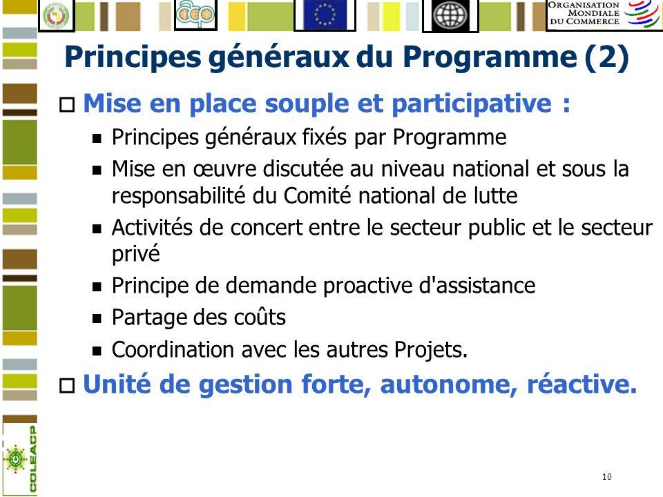 10 Principes généraux du Programme (2) o Mise en place souple et participative : n Principes généraux fixés par Programme n Mise en œuvre discutée au