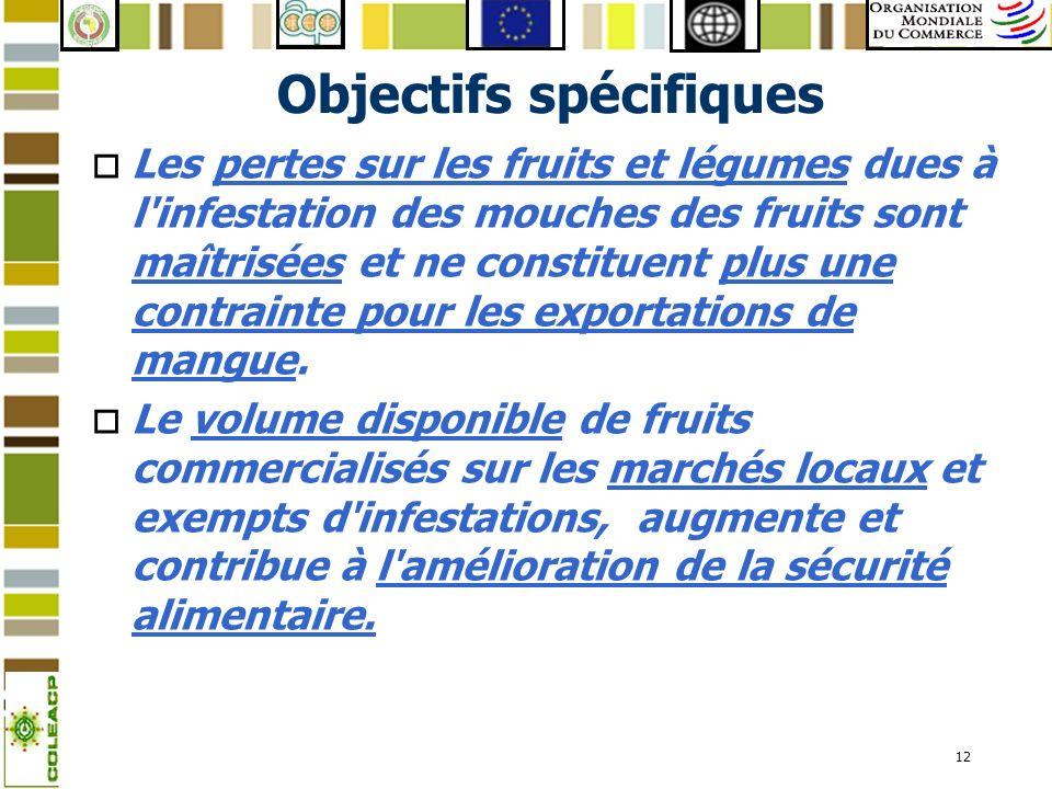 12 Objectifs spécifiques o Les pertes sur les fruits et légumes dues à l'infestation des mouches des fruits sont maîtrisées et ne constituent plus une
