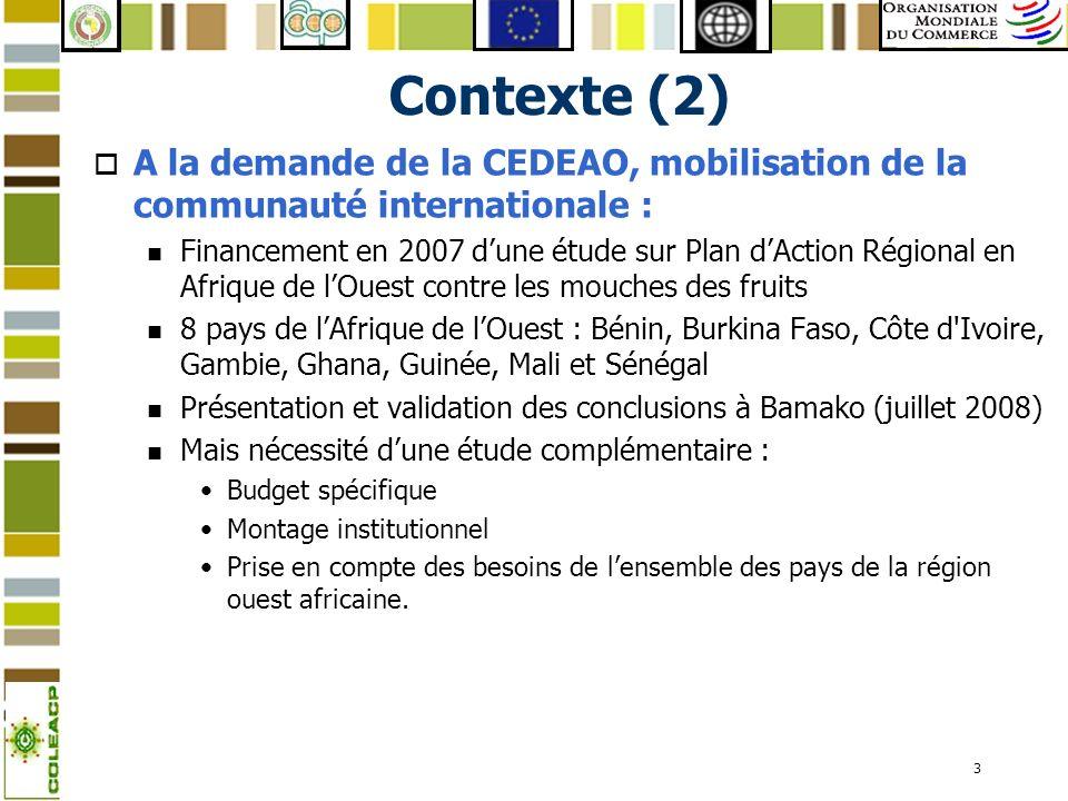 3 Contexte (2) o A la demande de la CEDEAO, mobilisation de la communauté internationale : n Financement en 2007 dune étude sur Plan dAction Régional