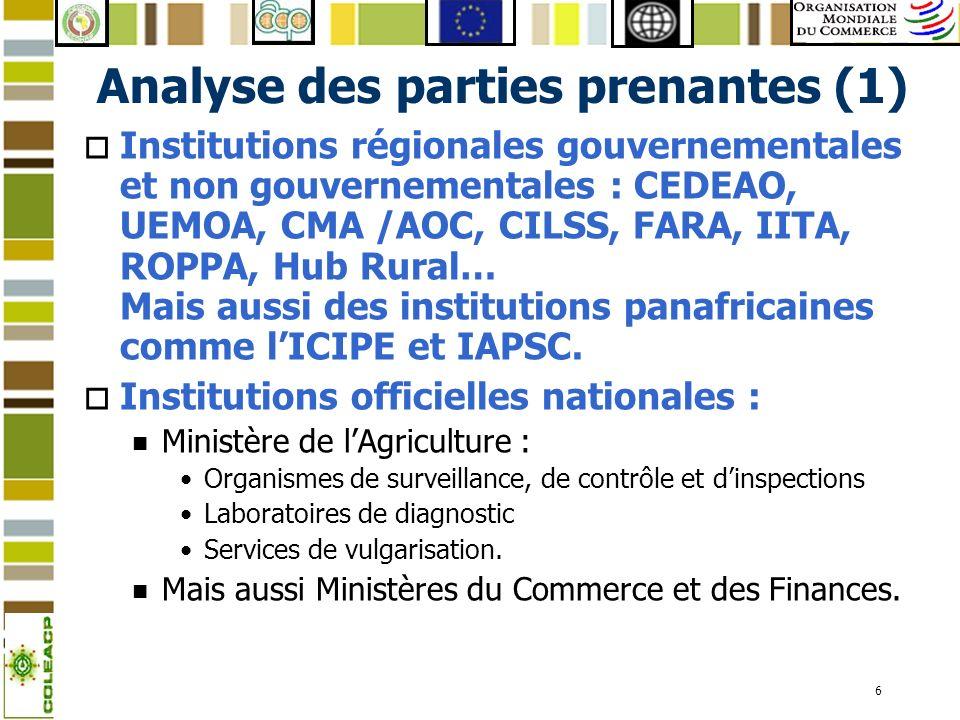 6 Analyse des parties prenantes (1) o Institutions régionales gouvernementales et non gouvernementales : CEDEAO, UEMOA, CMA /AOC, CILSS, FARA, IITA, R