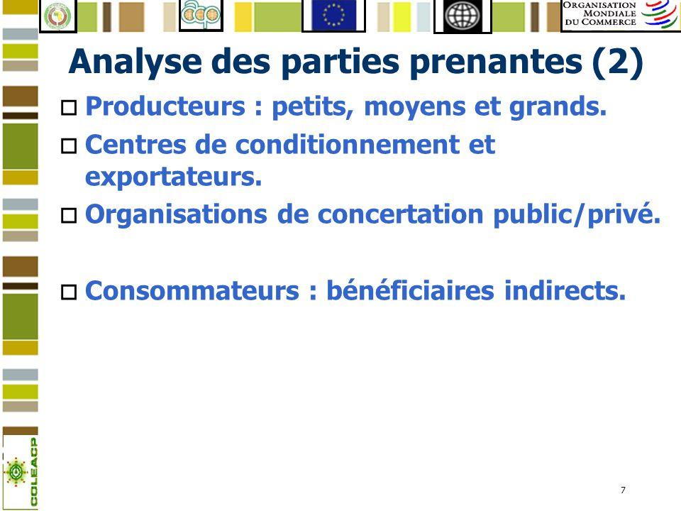 7 Analyse des parties prenantes (2) o Producteurs : petits, moyens et grands. o Centres de conditionnement et exportateurs. o Organisations de concert