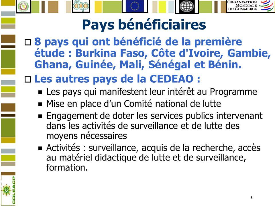 8 Pays bénéficiaires o 8 pays qui ont bénéficié de la première étude : Burkina Faso, Côte d'Ivoire, Gambie, Ghana, Guinée, Mali, Sénégal et Bénin. o L