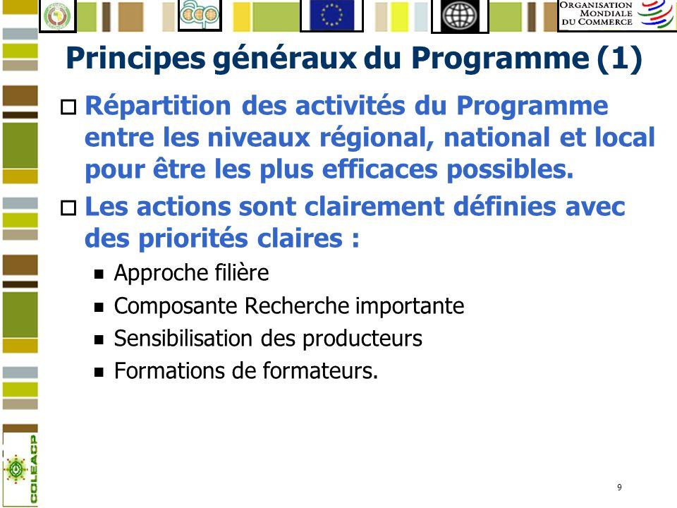 9 Principes généraux du Programme (1) o Répartition des activités du Programme entre les niveaux régional, national et local pour être les plus effica