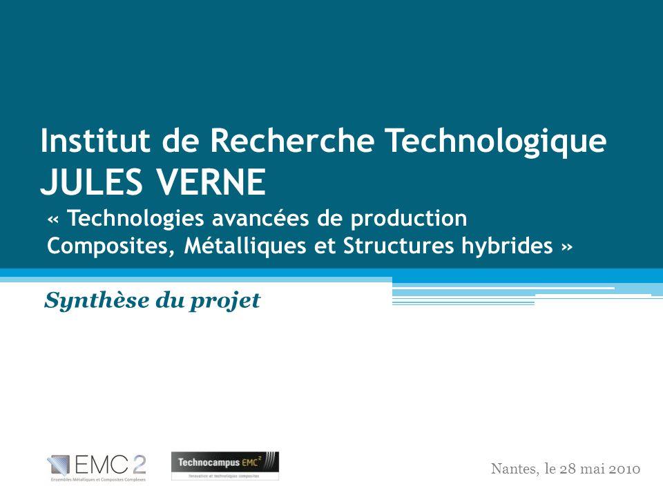 Institut de Recherche Technologique JULES VERNE « Technologies avancées de production Composites, Métalliques et Structures hybrides » Synthèse du pro