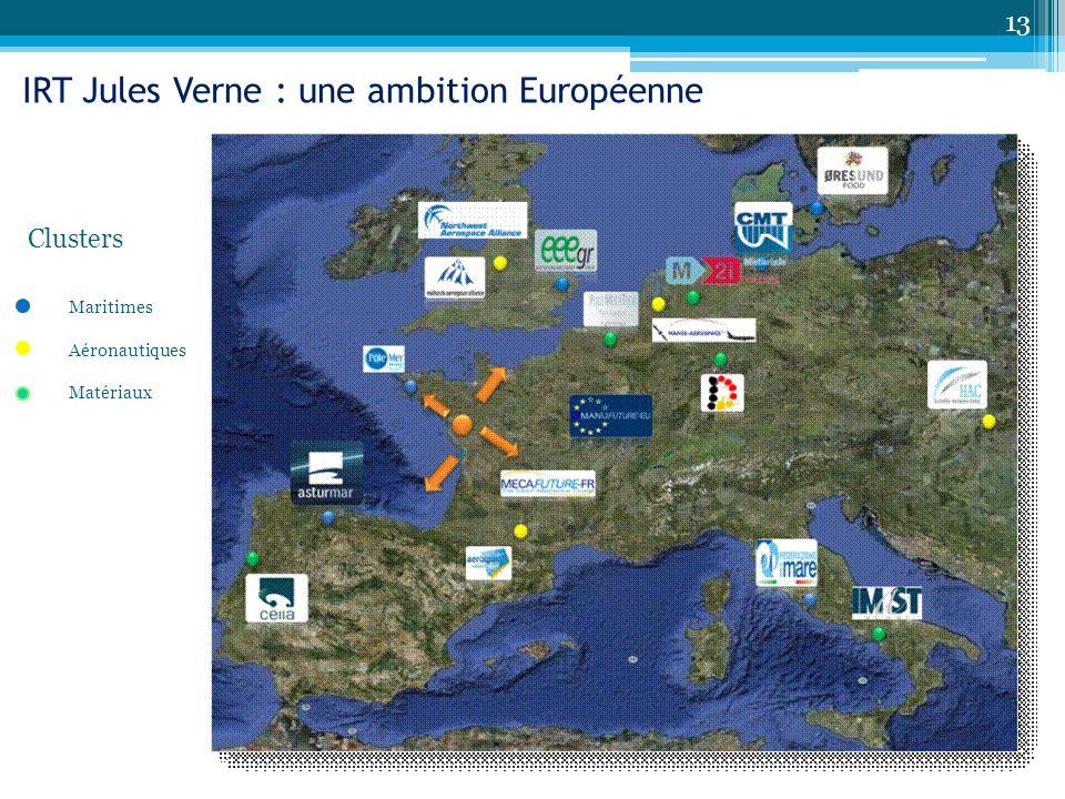 13 IRT Jules Verne : une ambition Européenne Maritimes Aéronautiques Matériaux Clusters
