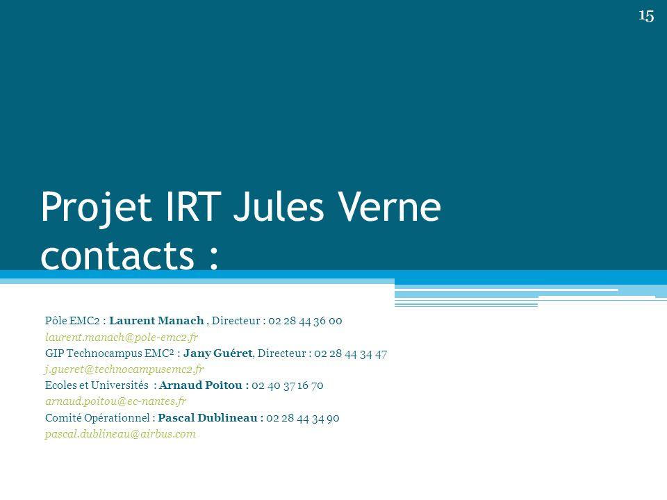 Projet IRT Jules Verne contacts : Pôle EMC2 : Laurent Manach, Directeur : 02 28 44 36 00 laurent.manach@pole-emc2.fr GIP Technocampus EMC² : Jany Guér