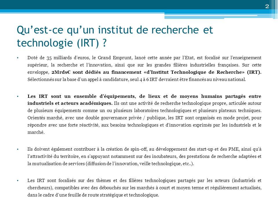 Quest-ce quun institut de recherche et technologie (IRT) ? Doté de 35 milliards deuros, le Grand Emprunt, lancé cette année par lEtat, est focalisé su