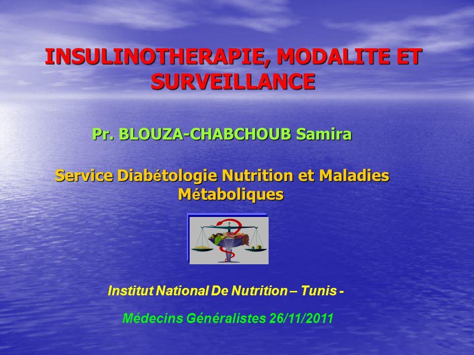 INSULINOTHERAPIE, MODALITE ET SURVEILLANCE Pr. BLOUZA-CHABCHOUB Samira Service Diab é tologie Nutrition et Maladies M é taboliques Institut National D
