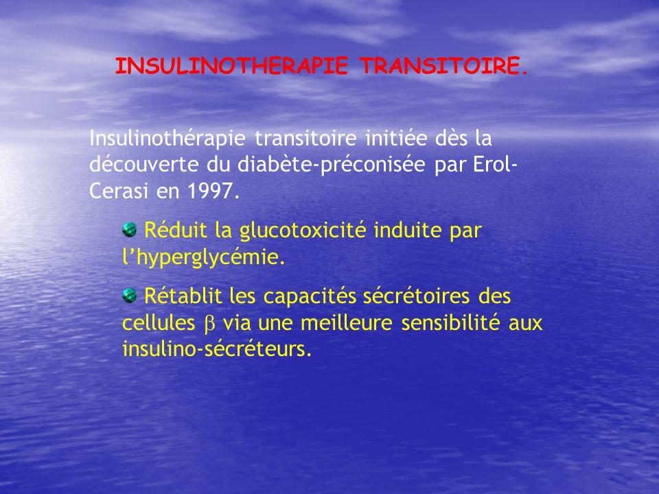 Insulinothérapie transitoire initiée dès la découverte du diabète-préconisée par Erol- Cerasi en 1997. Réduit la glucotoxicité induite par lhyperglycé