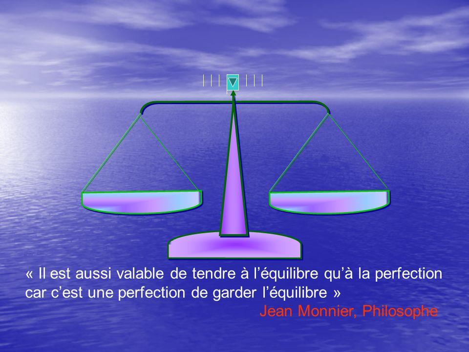 « Il est aussi valable de tendre à léquilibre quà la perfection car cest une perfection de garder léquilibre » Jean Monnier, Philosophe