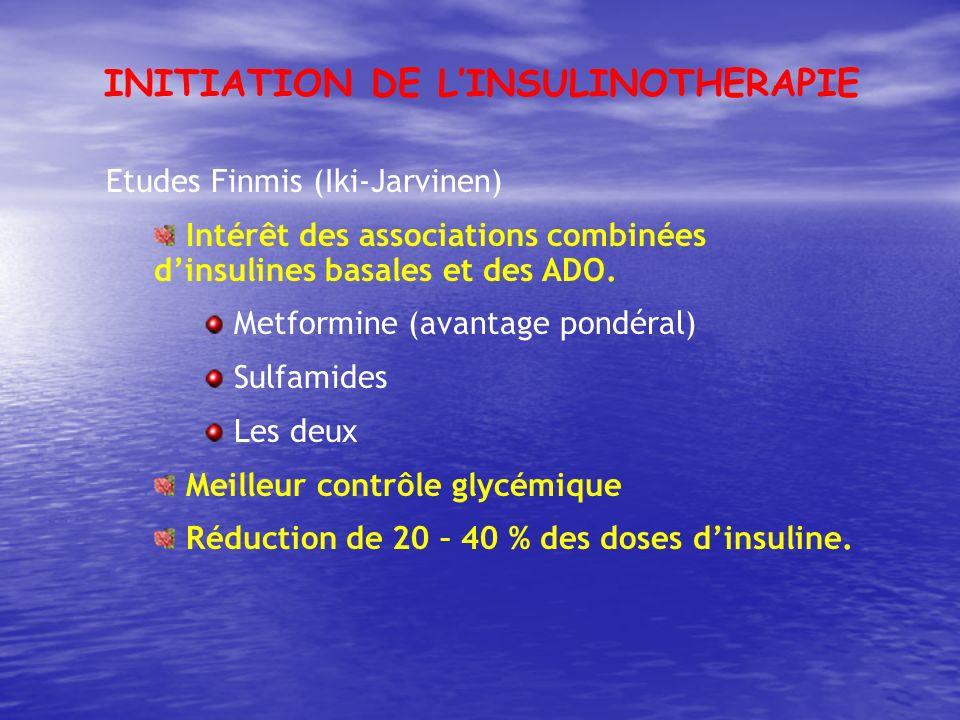 Etudes Finmis (Iki-Jarvinen) Intérêt des associations combinées dinsulines basales et des ADO. Metformine (avantage pondéral) Sulfamides Les deux Meil