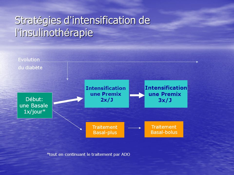 Strat é gies d intensification de l insulinoth é rapie Début: une Basale 1x/jour* Evolution du diabète Traitement Basal-plus Intensification une Premi