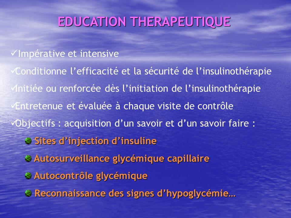 Impérative et intensive Conditionne lefficacité et la sécurité de linsulinothérapie Initiée ou renforcée dès linitiation de linsulinothérapie Entreten