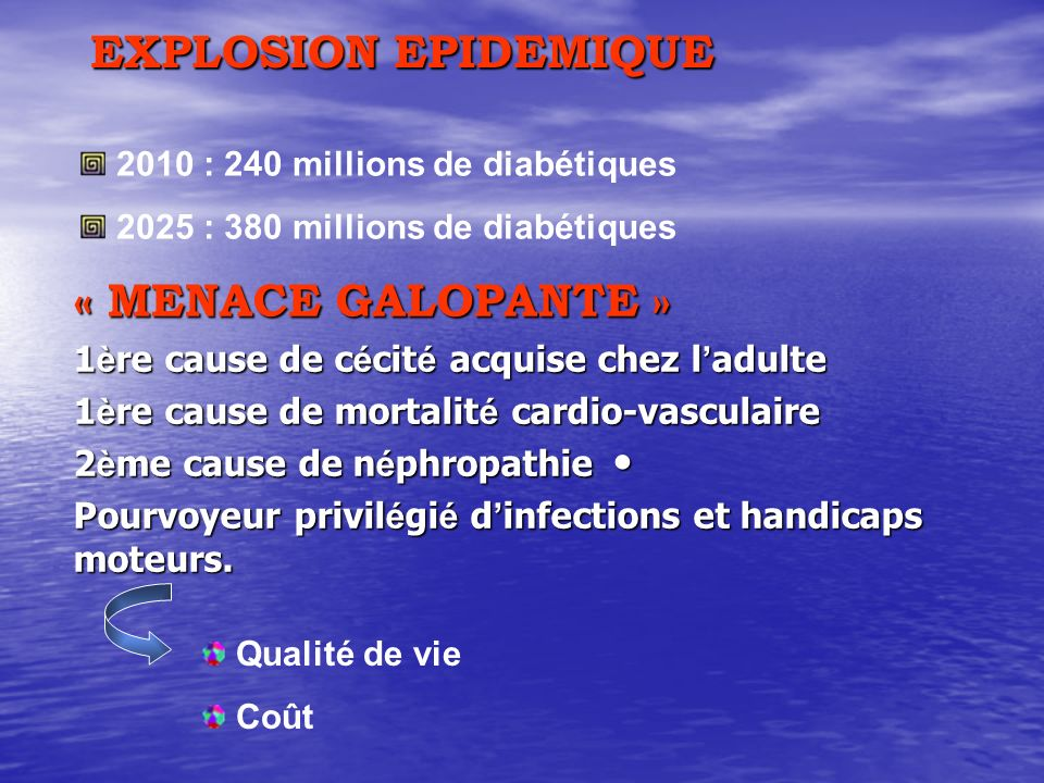 EXPLOSION EPIDEMIQUE « MENACE GALOPANTE » 1 è re cause de c é cit é acquise chez l adulte 1 è re cause de mortalit é cardio-vasculaire 2 è me cause de n é phropathie 2 è me cause de n é phropathie Pourvoyeur privil é gi é d infections et handicaps moteurs.