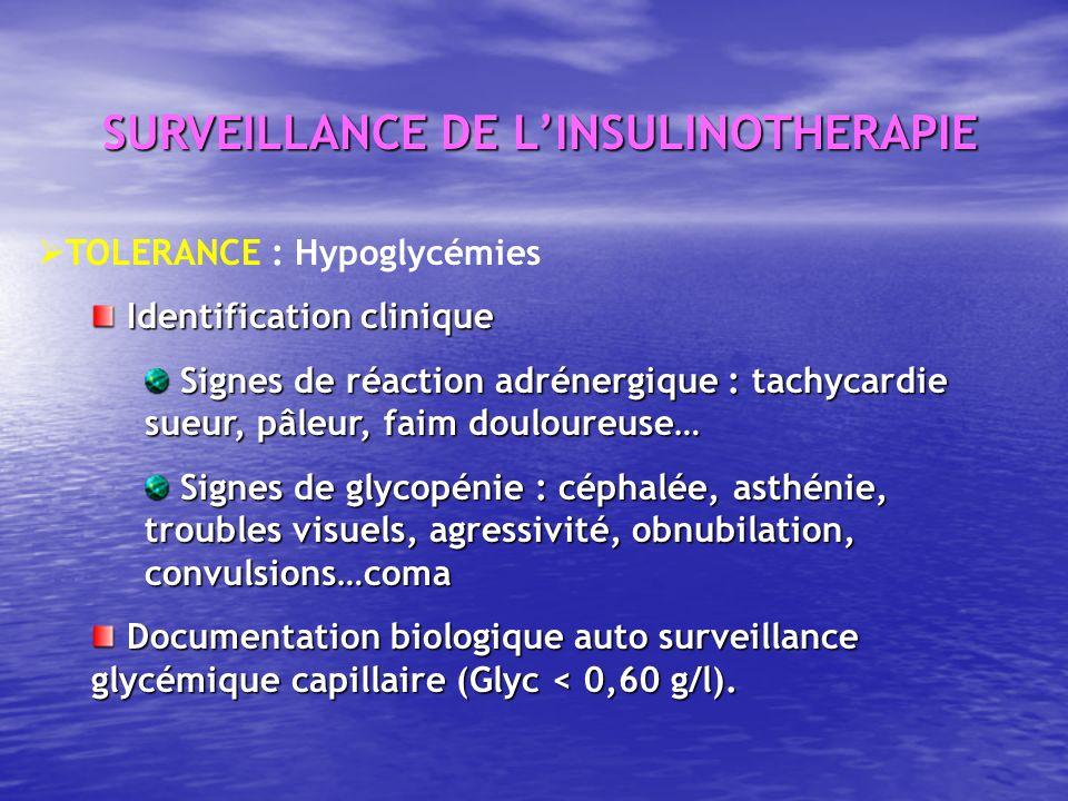 TOLERANCE : Hypoglycémies Identification clinique Identification clinique Signes de réaction adrénergique : tachycardie sueur, pâleur, faim douloureus