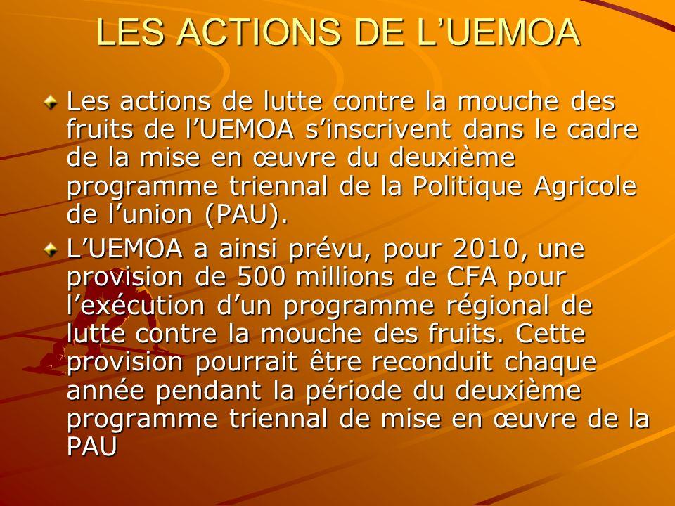 LES ACTIONS DE LUEMOA Les actions de lutte contre la mouche des fruits de lUEMOA sinscrivent dans le cadre de la mise en œuvre du deuxième programme t