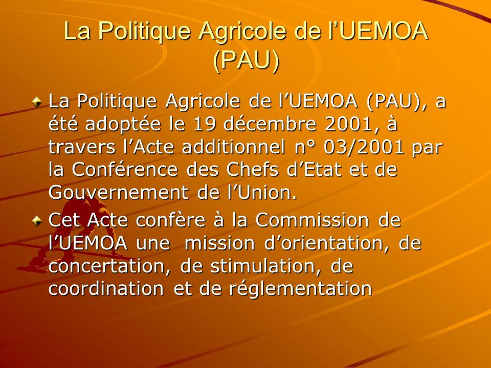 La Politique Agricole de lUEMOA (PAU) La Politique Agricole de lUEMOA (PAU), a été adoptée le 19 décembre 2001, à travers lActe additionnel n° 03/2001
