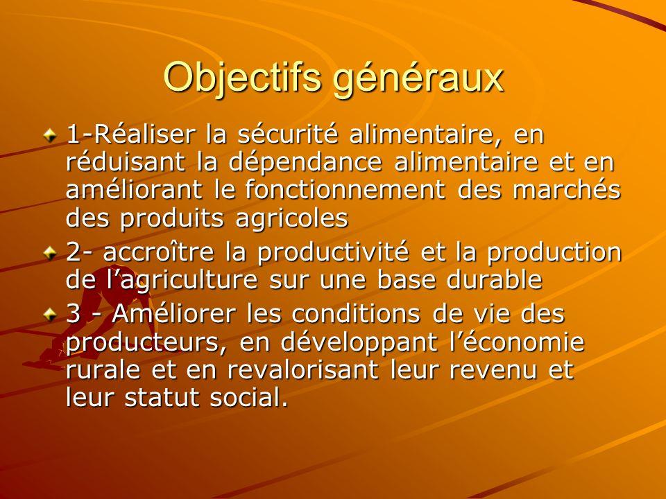 Objectifs généraux 1-Réaliser la sécurité alimentaire, en réduisant la dépendance alimentaire et en améliorant le fonctionnement des marchés des produ
