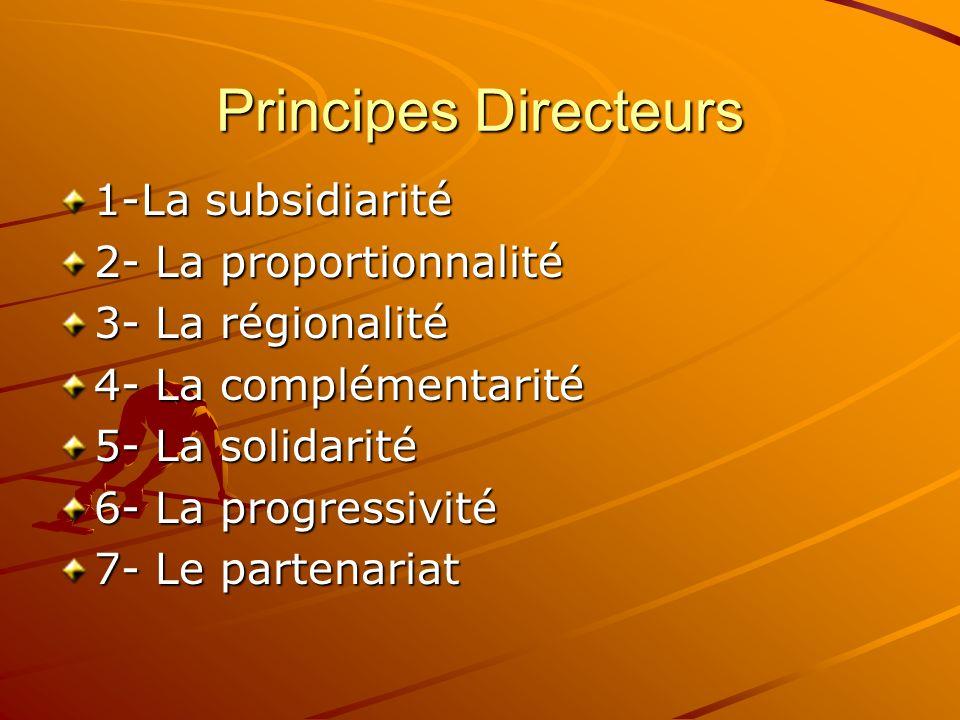 Principes Directeurs 1-La subsidiarité 2- La proportionnalité 3- La régionalité 4- La complémentarité 5- La solidarité 6- La progressivité 7- Le parte