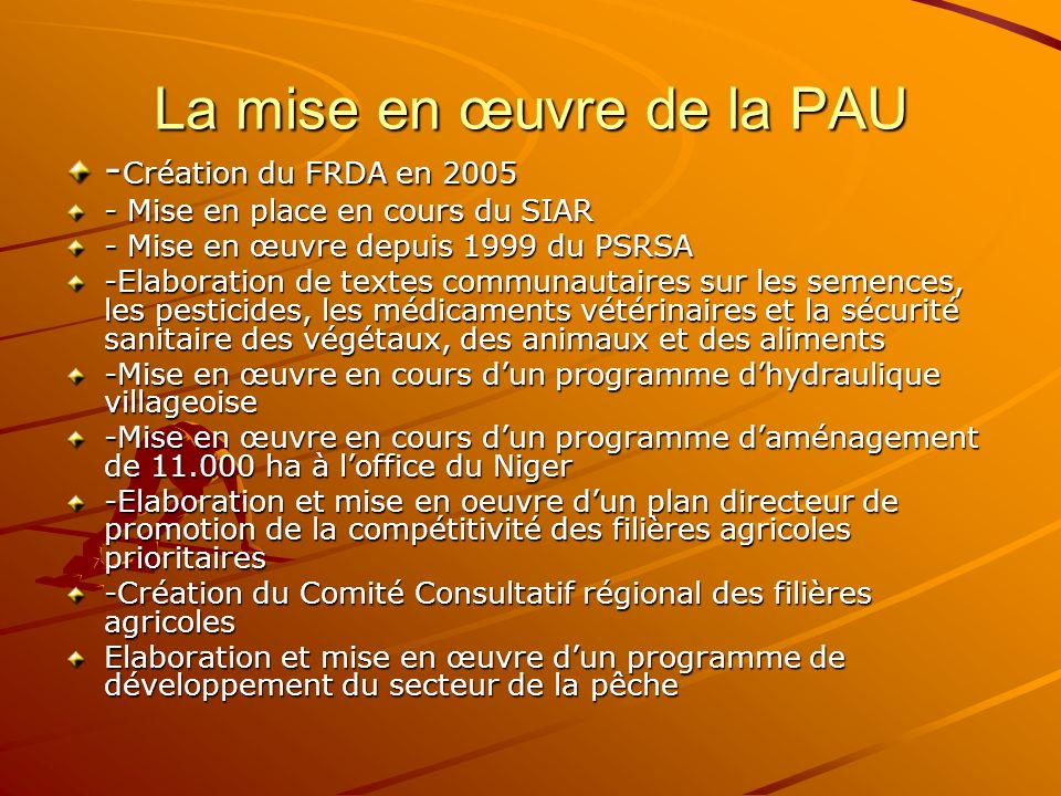 La mise en œuvre de la PAU - Création du FRDA en 2005 - Mise en place en cours du SIAR - Mise en œuvre depuis 1999 du PSRSA -Elaboration de textes com