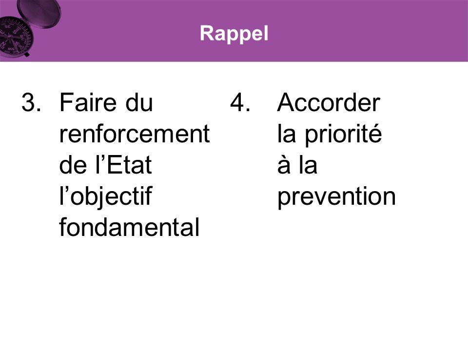 Rappel 3.Faire du renforcement de lEtat lobjectif fondamental 4.Accorder la priorité à la prevention