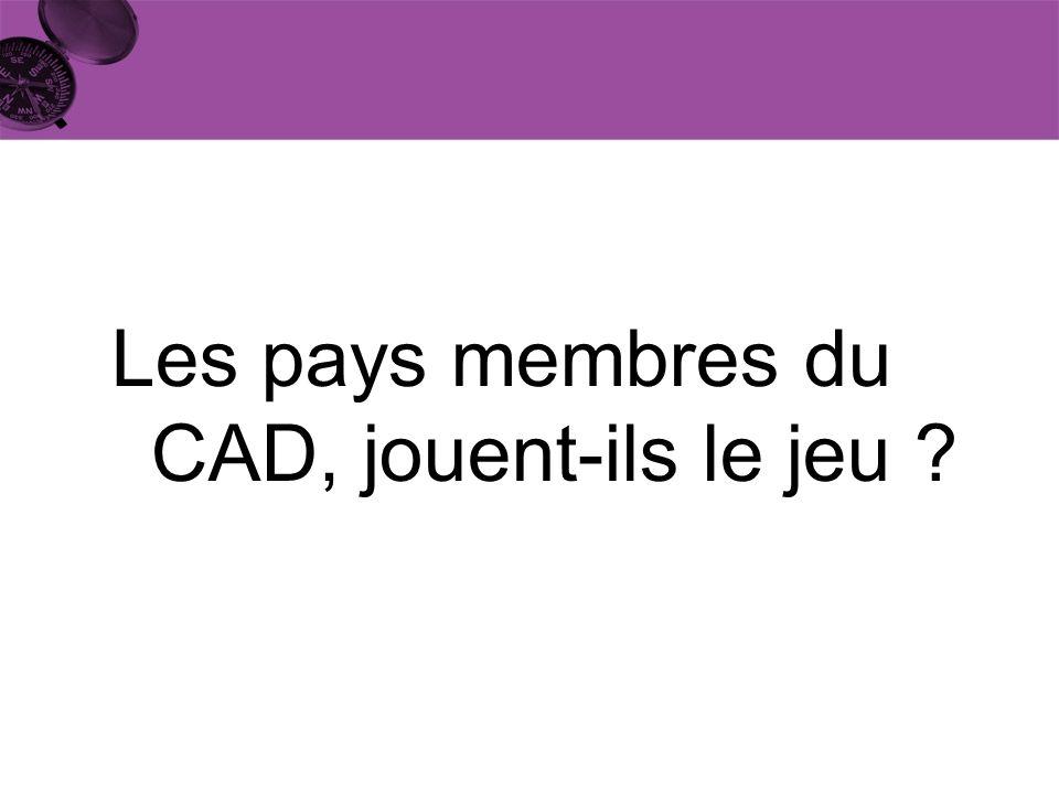 Les pays membres du CAD, jouent-ils le jeu ?