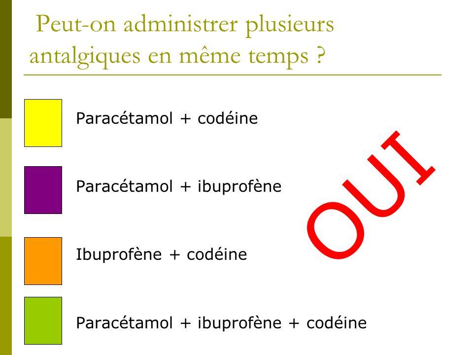 Peut-on administrer plusieurs antalgiques en même temps ? Paracétamol + codéine Paracétamol + ibuprofène Ibuprofène + codéine Paracétamol + ibuprofène